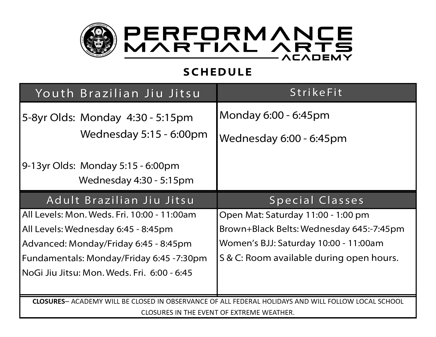 Schedule begins 1.8.18 NoGi & StrikeFit