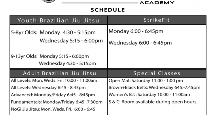 New 2018 Schedule: Full NoGi Program & StrikeFit Classes!